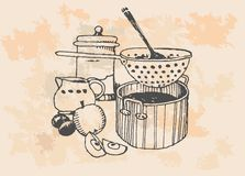 Retro cooking pots. A set of retro grocery items. Black and white decorative illustration vector illustration