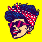 Retro cool girl face sunglasses rockabilly hairstyle  Royalty Free Stock Photo