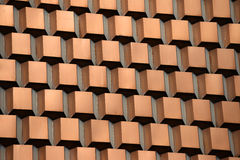 Retro copper ornament on a parking garage. Copper squares and trapezoids adorn the sides of a parking garage in Las Vegas stock images