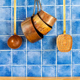 Retro copper utensils. cookware, kitchenware set. Stock Photography