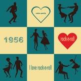 Retro coppie del rotolo del ` del ` n della roccia di dancing Fotografia Stock
