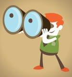 Retro Corporate Guy with his huge binoculars. Stock Image