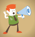 Retro Corporate Guy holding a megaphone. Royalty Free Stock Image