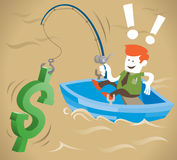 Retro Corporate Guy Is Fishing For Money. Royalty Free Stock Photo