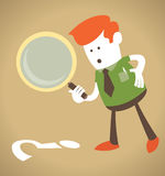 Retro Corporate Guy with magnifying glass. Vector illustration of Retro Corporate Guy with magnifying glass Stock Photos