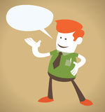 Retro Corporate Guy with Speech Bubble. Royalty Free Stock Photography