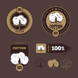 Retro cotton vector icons, labels. Production guarantee cotton, label cotton, badge or logo cotton illustration Stock Photos