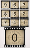 Retro countdown illustration. Vector illustration of countdown filmstip Royalty Free Stock Photo