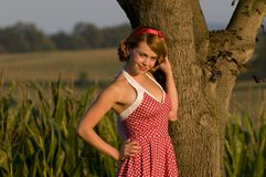 Retro country girl Stock Photo