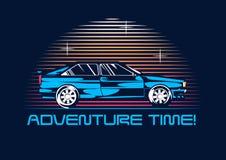 Retro coupéauto vanaf 1980 bij nacht stylization van de de jaren '80affiche Vector illustratie Stock Afbeelding