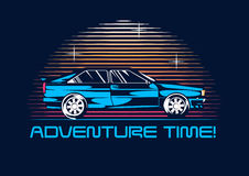 Retro coupe car from 1980 at night. 80s poster stylization. Vector illustration Stock Image