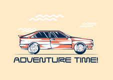 Retro coupe car from 1980 ready for a traveling. Summer fun trip concept. Vector illustration Stock Image