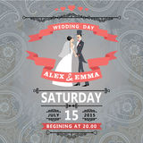 Retro couple bride and groom.Wedding invitation with paisley Stock Photos