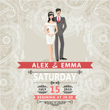 Retro couple bride and groom.Wedding invitation with paisley lac Stock Photo