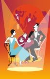Retro couple drinking tea, coffee in a restaurant. Vector illust Stock Image