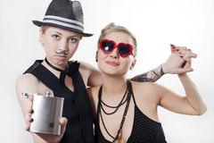 Retro couple of gangsters Stock Photo