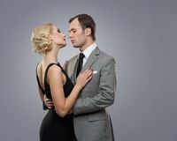 Retro couple  on grey Stock Image