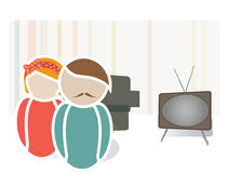 Retro Couple in a House. Universal Web Icons of a Family Stock Image