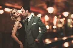 Beautiful couple. Retro couple over blurred background Royalty Free Stock Images
