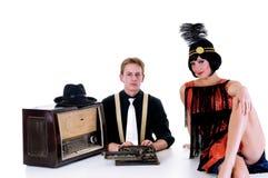 Retro couple radio Royalty Free Stock Image