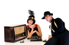 Retro couple radio Stock Images