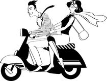 Retro couple on a scooter. Young couple dressed in 1960s fashion riding a vintage scooter, EPS 8 black vector silhouette, no white objects Royalty Free Stock Photography