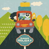 Retro  couple traveling by car. Vector illustration Royalty Free Stock Images
