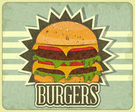 Retro Cover for Fast Food Menu Stock Images