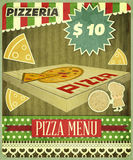 Retro Cover Menu for Pizzeria Stock Photos
