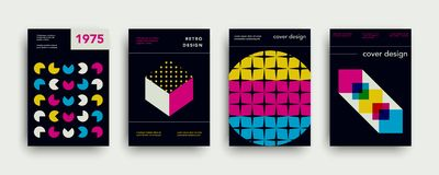 Retro cover templates collection. Swiss trendy fashion backgrounds set. With geometric shapes. Modern vector illustration. Minimal creative poster, web banner royalty free illustration
