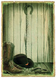 Retro Cowboy background on antique paper. For text stock images