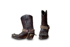 Retro- Cowboystiefelisolat auf Weiß Lizenzfreies Stockfoto