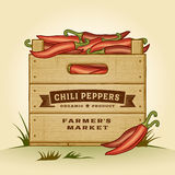 Retro crate of chili peppers Royalty Free Stock Images