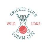 Retro cricket club emblem design. stock illustration