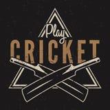 Retro cricket emblem design. Cricket logo icon design. Cricket badge. Sports logo symbols with cricket gear, equipment. Cricket tee design. Tee shirt emblem. T stock illustration