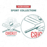 Retro cricket logo icon design. Vintage cricketer emblem design. Cricket badge. Sports tee design and symbols with. Cricket gear, equipment for web or t-shirt Stock Photography