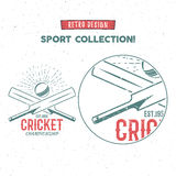 Retro cricket vector logo icon design. Vintage Cricket emblem design. Cricket badge. Sports tee design and symbols Stock Photos