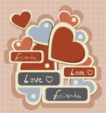 Retro cuore di amore di tipografia Fotografia Stock