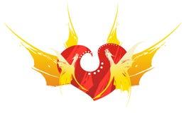 Retro cuore rosso del drago Fotografia Stock