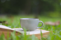 Retro cup of coffee with book  on the green grass Stock Photo