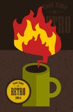 Retro cup with fire flame. Royalty Free Stock Photo
