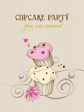 Retro cupcake background Stock Images
