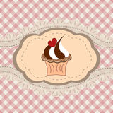 Retro cupcake card. Birthday card with funny cupcake. Vector illustration stock illustration