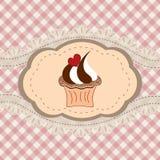 Retro cupcakekaart Royalty-vrije Stock Foto