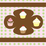 Retro Cupcakes Background Stock Photography
