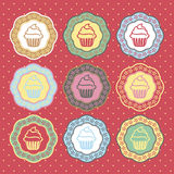 Retro cupcakes labels collection vector. Set Royalty Free Stock Image