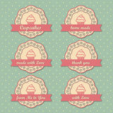 Retro cupcakes labels collection. Vector set Stock Photo