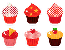 Retro cupcakes set Stock Images