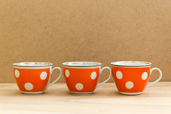 Retro cups with polka dot pattern Royalty Free Stock Photo