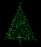 Retro Curlicue Christmas Tree Royalty Free Stock Image